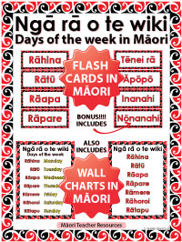 Ngā rā o te wiki - Māori days of the week Flash Cards / Wall Charts